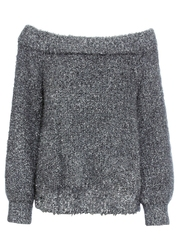 Sweter z dekoltem carmen i połyskującą nitką bonprix antracytowy melanż - srebrny