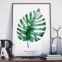 Monstera - plakat w ramie , wymiary - 18cm x 24cm, kolor ramki - czarny