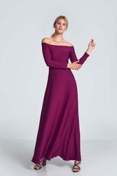 Maxi sukienka odsłaniająca ramiona - fuksja