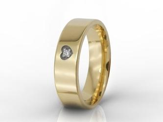 Obrączka damska z twoim odręcznym podpisem i diamentem oprawionym w serce ob-03z-r-d-d