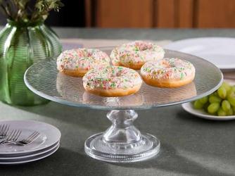 Patera na ciasto i tort  talerz szklany na nóżce edwanex 35 cm
