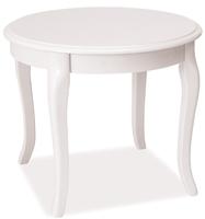 Biały stolik kawowy na stylizowanych nogach royal d w stylu retro