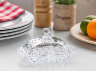 Maselniczka  maselnica szklana z pokrywką altom design karo