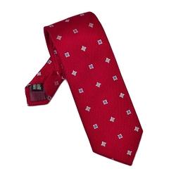 Elegancki czerwony krawat van thorn w kwadraty