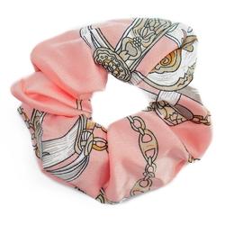 Gumka do włosów różowa scrunchies wzór frotka