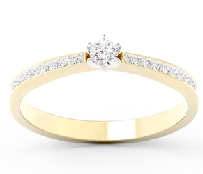 Pierścionek zaręczynowy z żółtego i białego złota z brylantami cp-2510zb - żółte i białe  diament