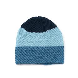 Czapka zimowa trzy kolory wzór w jodełke niebieska - turkusowa