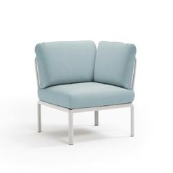 Fotel komodo narożny biały jasny niebieski - niebieski jasny