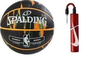 Piłka do koszykówki spalding nba marble usa outdoor + pompka nike essential