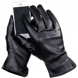 Męskie rękawiczki eco skóra dotykowe ocieplane miś rkw6-m rozm.m