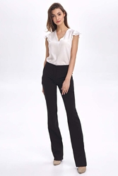 Czarne materiałowe spodnie z prostymi nogawkami