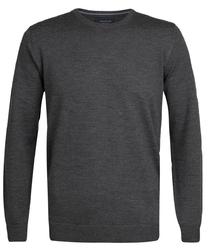 Elegancki grafitowy sweter prufuomo originale z delikatnej wełny merynosów z okrągłym kołnierzem xxl