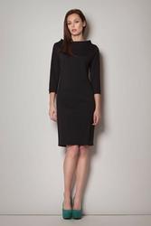 Czarna  koktajlowa sukienka z rękawem 34