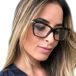 Okulary damskie zerówki czarne kocie oko