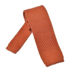 Pomarańczowy wełniany krawat z dzianiny  knit