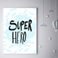 Super bohater na niebieskim tle - plakat wymiar do wyboru: 61x91,5 cm