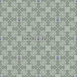 Obraz na płótnie canvas trzyczęściowy tryptyk bezszwowe zielone i fioletowe tapetą z motywem kwiatowym