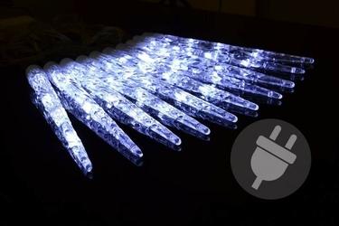 Lampki dekoracyjne 8 m sople białe ruchome 10 led zewnętrzne programator