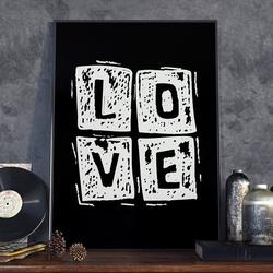 Love square - plakat w ramie , wymiary - 40cm x 50cm, ramka - czarna