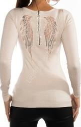Beżowy sweter ze skrzydłami | wysmuklający sweter angel wings, 8237