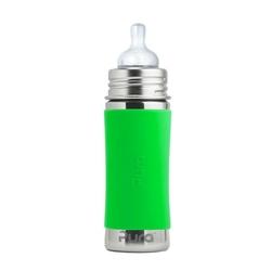 Butelka stalowa pura kiki ze smoczkiem 3m+ - zielona 325 ml