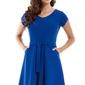 Chabrowa sukienka z paskiem i krótkim rękawem