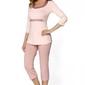 Piżama damska babella megan kremowy-pudrowy różowy
