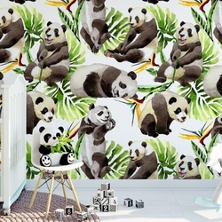 Tapeta dziecięca - panda in tropics , rodzaj - tapeta flizelinowa