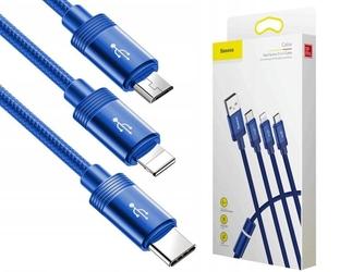 Kabel baseus 3w1 usb-c lightning micro usb 3.5a 1.2m blue - niebieski