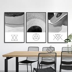 Zestaw trzech plakatów - geometric senses , wymiary - 50cm x 70cm 3 sztuki, kolor ramki - biały