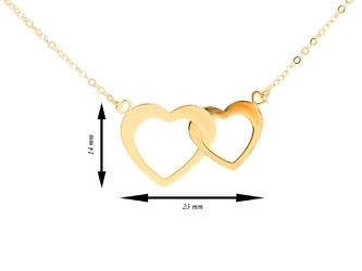 Naszyjnik łańcuszek dwa złączone serca złoto pr. 333 dedykacja