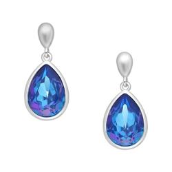 Srebrne kolczyki kryształy swarovskiego kolor royal blue delight