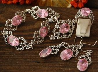 Campo - srebrny komplet z różowym kryształem