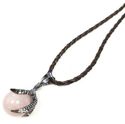 Kwarc różowy w smoczej łapie - naszyjnik
