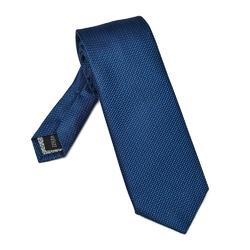 Granatowy jedwabny krawat w czarną kratkę DŁUGI