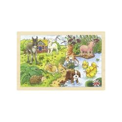 MAŁE ZWIERZĄTKA NA WSI drewniane puzzle