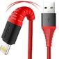 Kabel rock hi-tensile usb - lightning 2.1a 2m nylon czerwony - czerwony