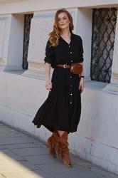 Czarna długa koszulowa sukienka