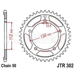Zębatka tylna stalowa jt 302-43, 43z, rozmiar 530 2300438 honda vtr 1000