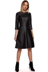 Rozkloszowana sukienka midi z trapezowym dołem czarna