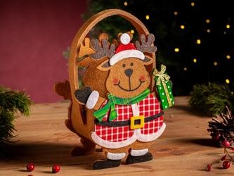 Opakowanie świąteczne na prezent  torba filcowa  torebka prezentowa altom design renifer z prezentem