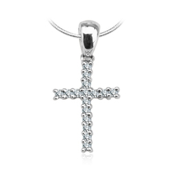 Staviori Wisiorek. Krzyżyk. 16 Diamentów, szlif achtkant, masa 0,064 ct., barwa H, czystość I1. Białe Złoto 0,585. Wymiary 8x16 mm.