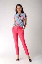 Ciemno różowe klasyczne spodnie cygaretki z ozdobnym zapięciem