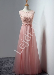 Sukienka wieczorowa z drobnymi szyfonowymi kwiatkami, jasny róż - kirsten