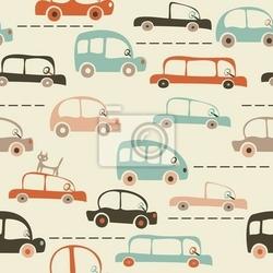 Fototapeta mapa bez szwu cartoon samochodów i ruchu