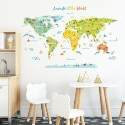 Naklejki kolorowa mapa świata ze zwierzętami na kontynentach
