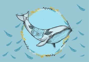 Kwiecisty wieloryb - plakat wymiar do wyboru: 100x70 cm
