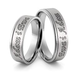 Obrączki ślubne z białego złota niklowego z imionami i emalią - au-981