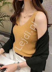 Musztardowa koszulka damska w prążki 4339