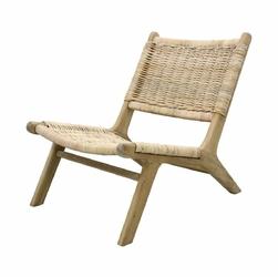 HK Living :: Wiklinowy Fotel z drewnianą podstawą
